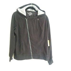 Made For Life Hoodie Fleece Diagonal Sherpa Jacket